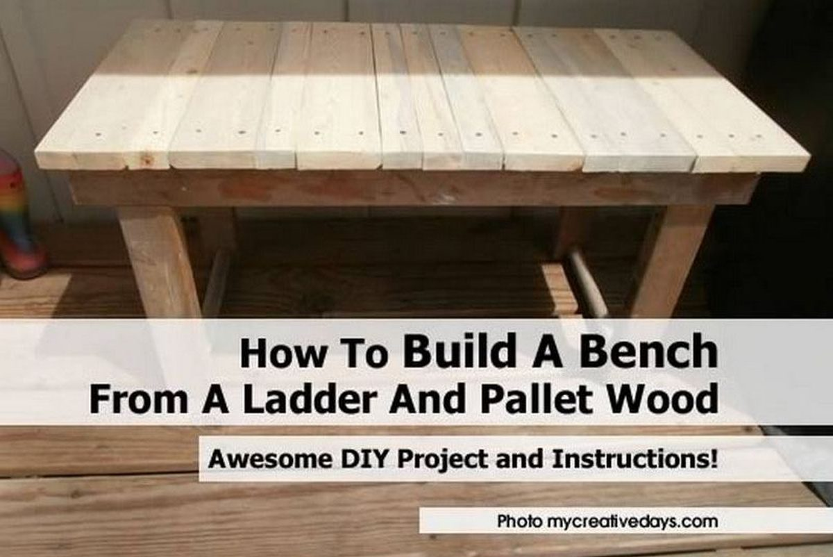 Superb img of How To Build A Bench From A Ladder And Pallet Wood with #221B10 color and 1200x802 pixels
