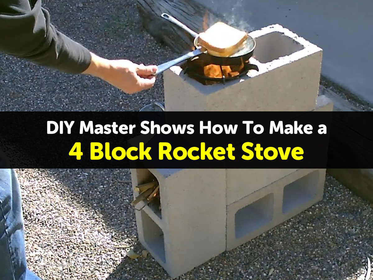How to make a 4 block rocket stove for How to make a cheap rocket
