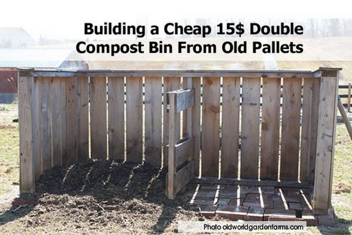 Building a cheap 15 double compost bin from old pallets for Cheapest way to build a house yourself