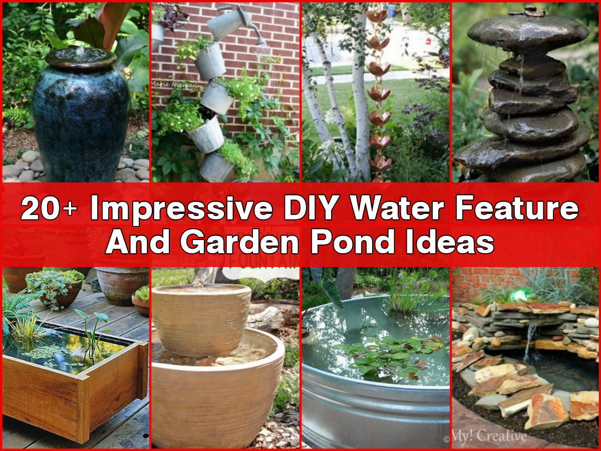 20 impressive diy water feature and garden pond ideas for Water garden ideas