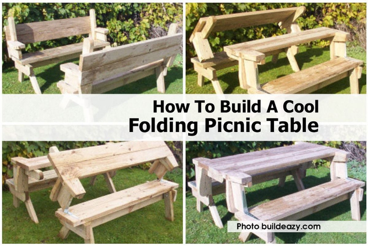 folding picnic table bench diy quick woodworking projects