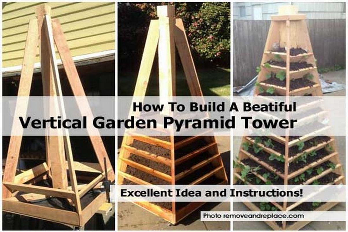 How to build a beatiful vertical garden pyramid tower for Vertical garden tower