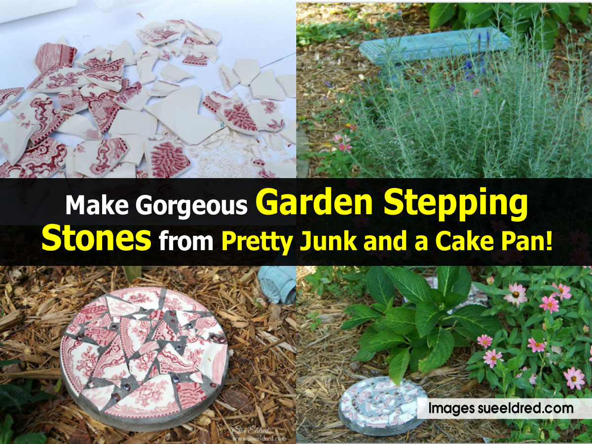 Make Gorgeous Garden Stepping Stones From Pretty Junk And A Cake Pan