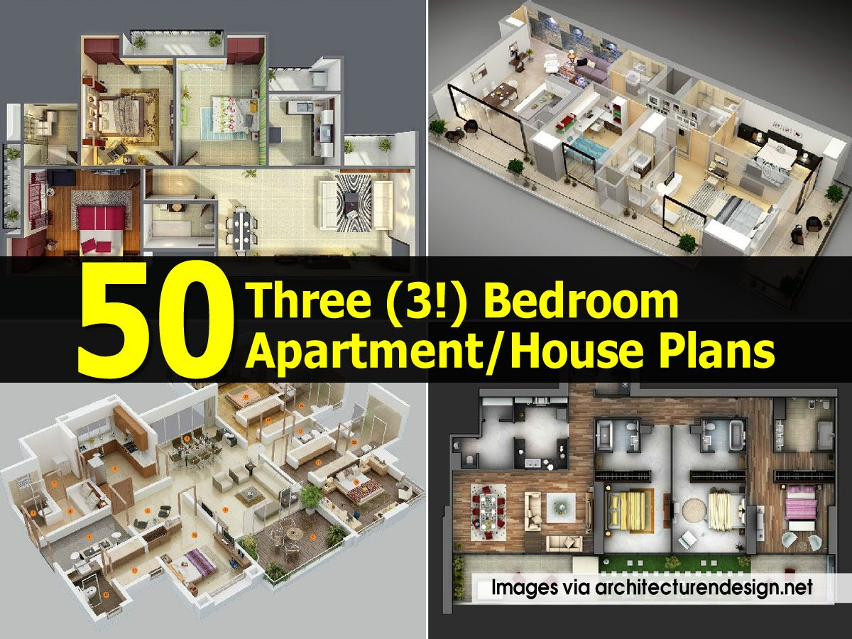 50 three 3 bedroom apartment house plans for 50 x 80 apartment plans
