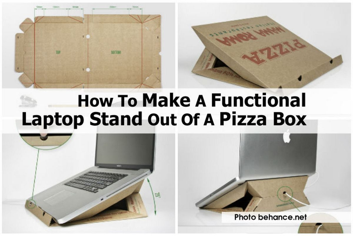 How to make a functional laptop stand out of a pizza box for How to build a box stand