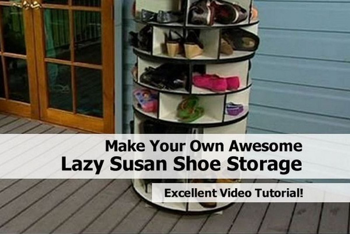 make your own awesome lazy susan shoe storage