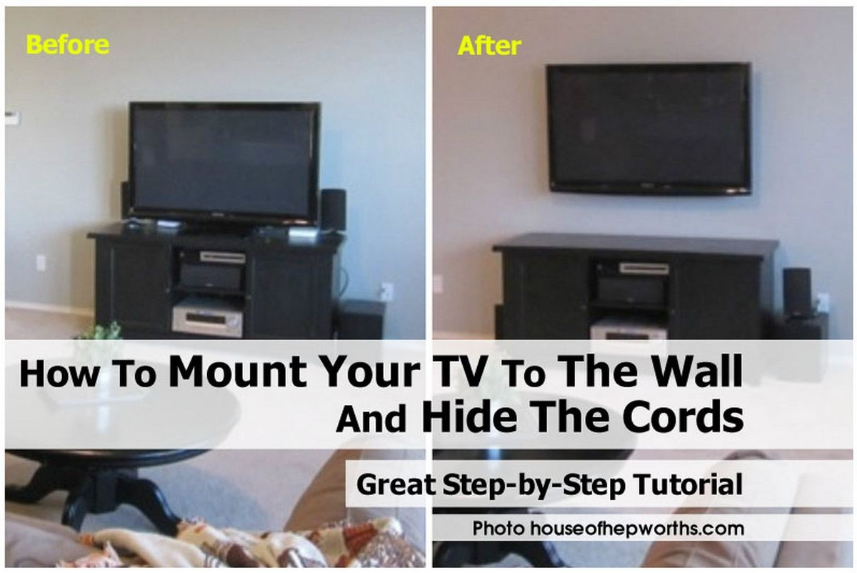 how to mount your tv to the wall and hide the cords. Black Bedroom Furniture Sets. Home Design Ideas
