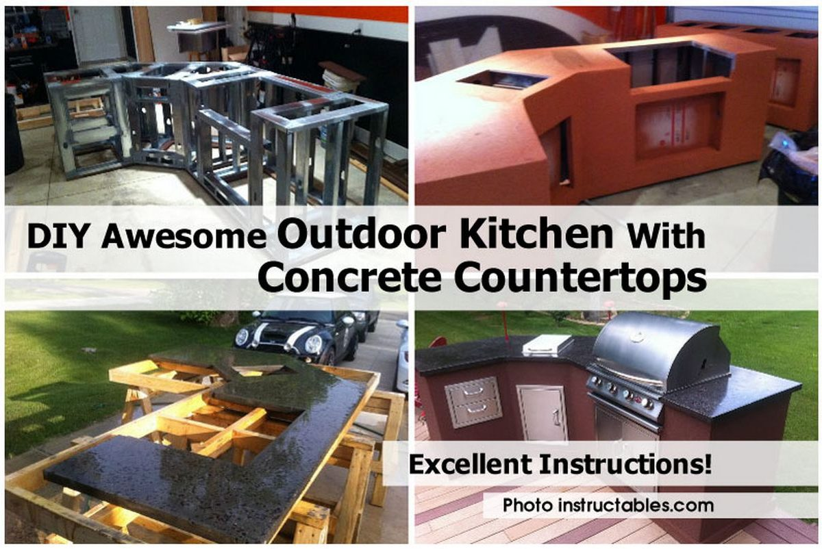 DIY Awesome Outdoor Kitchen With Concrete Countertops
