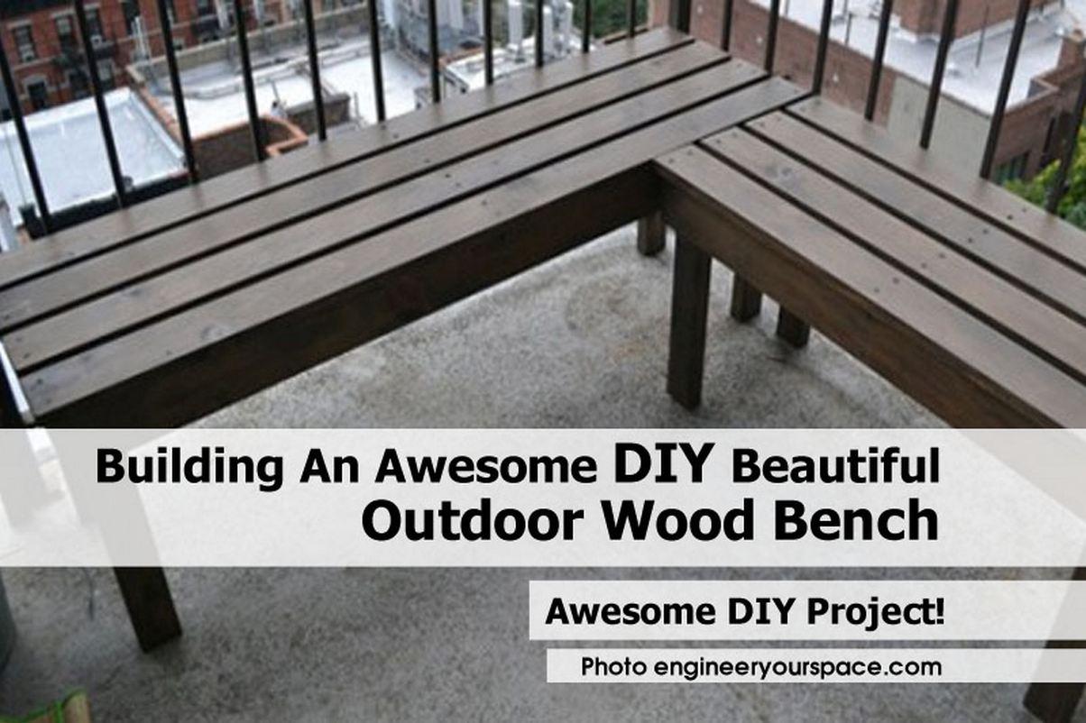 Building An Awesome DIY Beautiful Outdoor Wood Bench. Full resolution  portrait, nominally Width 1204 Height 802 pixels, portrait with #4E5A42.