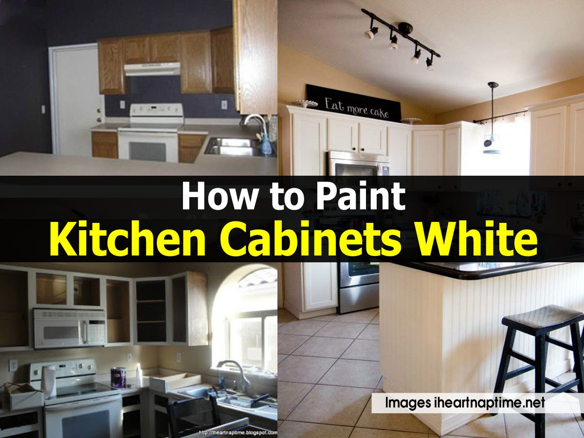 How to paint kitchen cabinets white for Spraying kitchen cabinets white