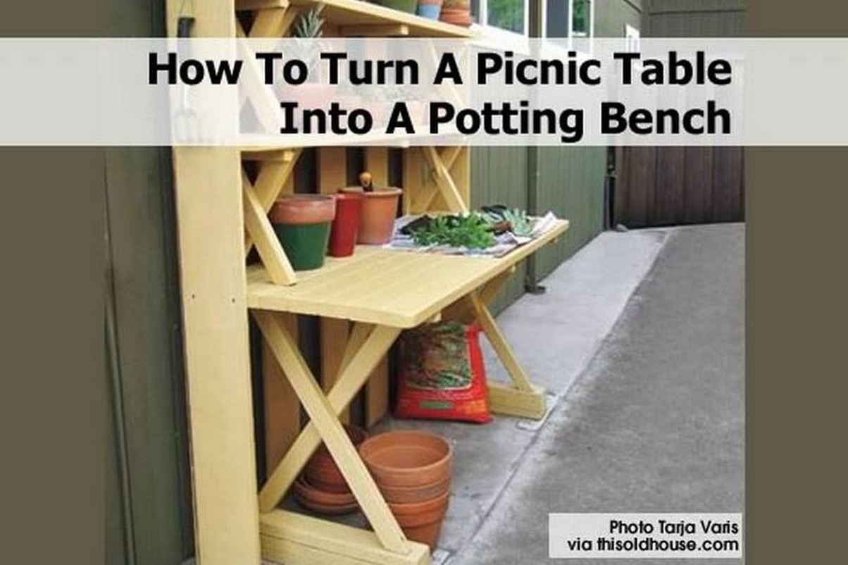 How to turn a picnic table into a potting bench Picnic table that turns into a bench