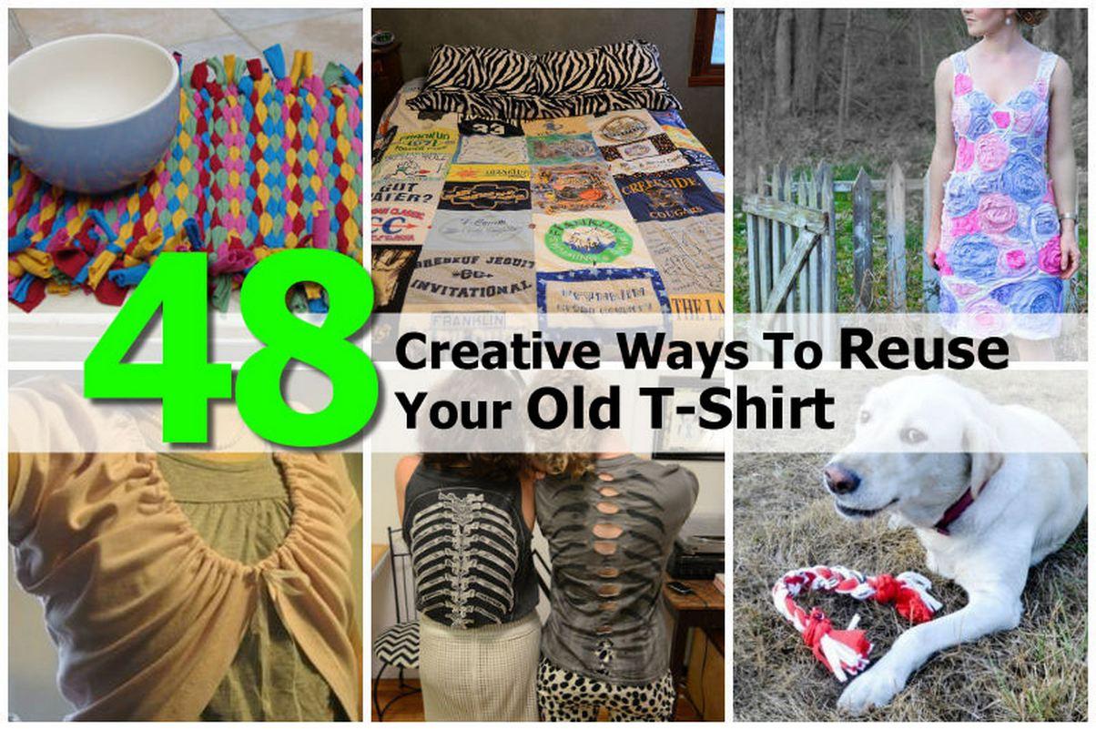 Diy projects for old t shirts 40 creative ideas to for Creative ways to recycle