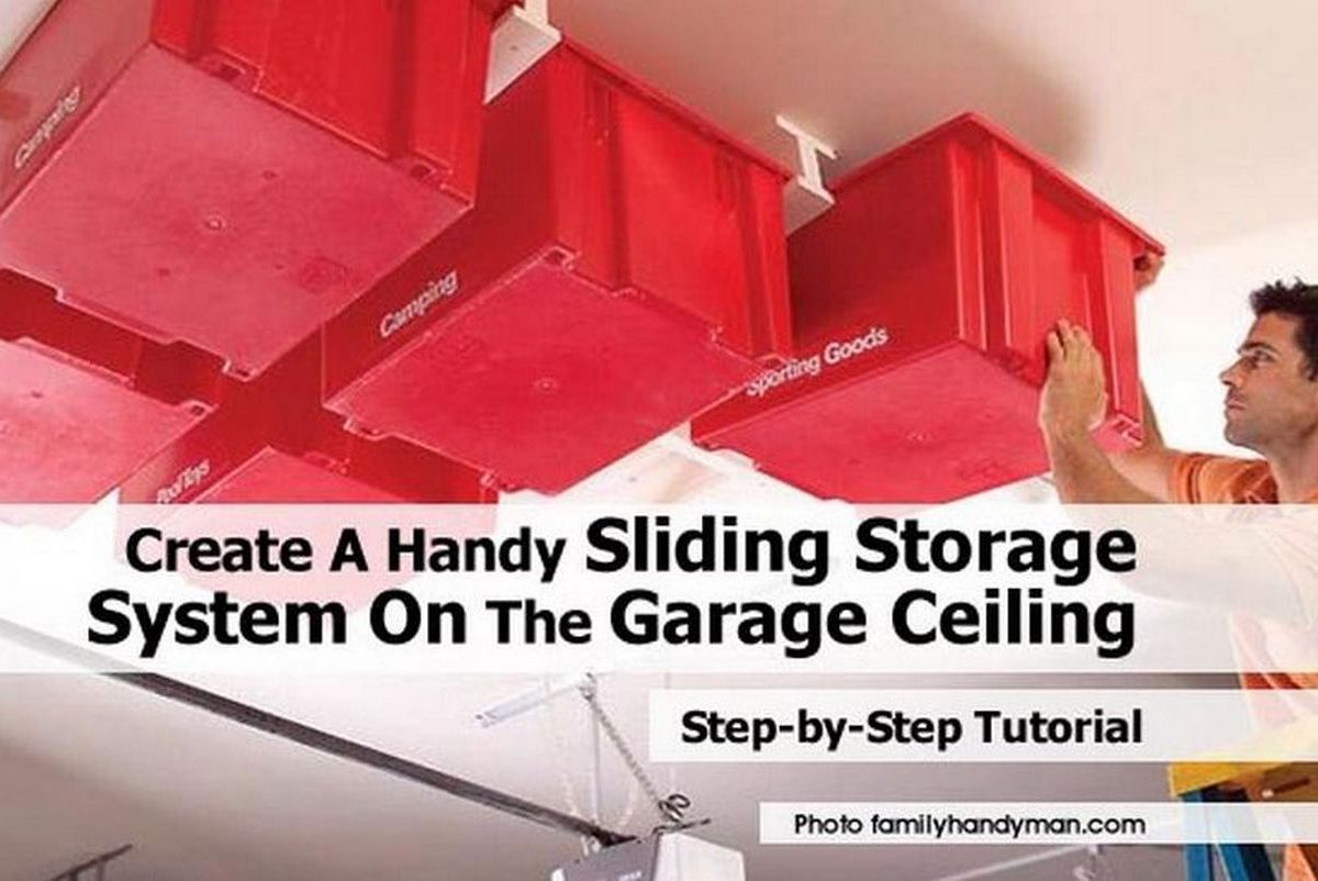 Create A Handy Sliding Storage System On The Garage Ceiling
