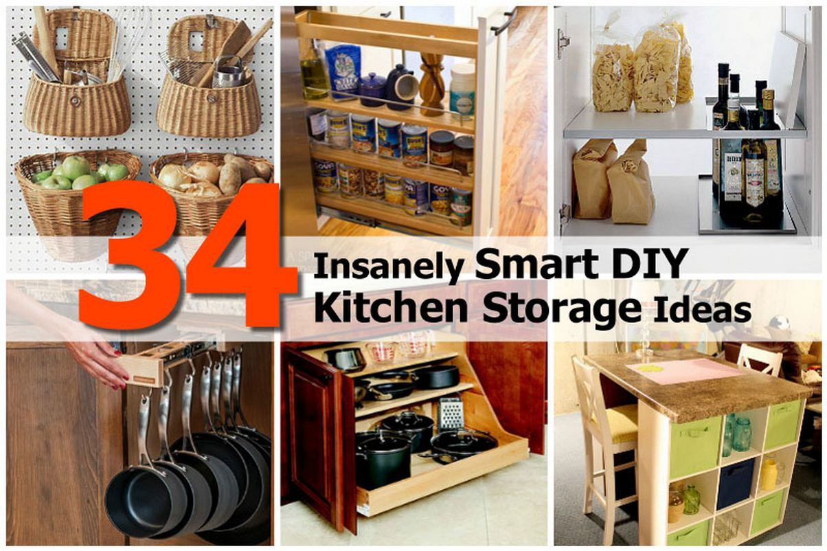 34 insanely smart diy kitchen storage ideas for Kitchen storage ideas