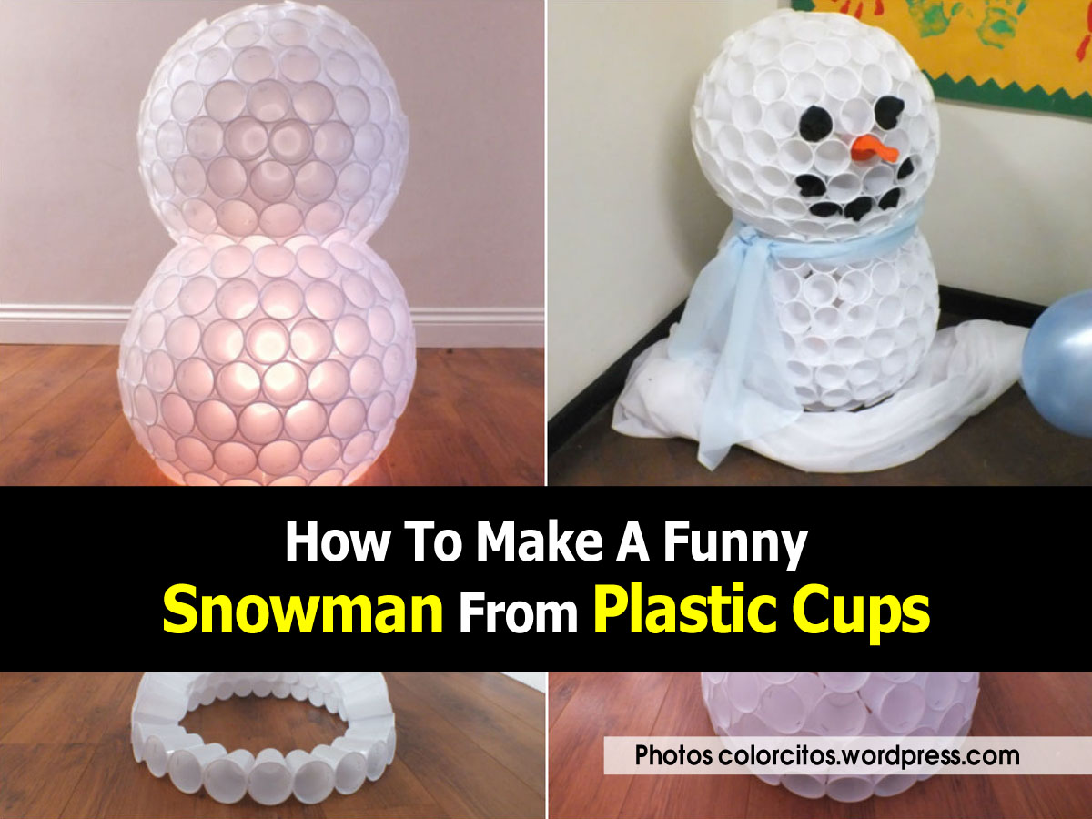 Plastic cup snowman craft car interior design for Snowman made out of cups