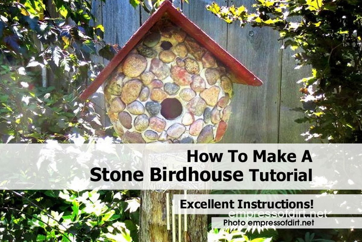 how to make a stone birdhouse tutorial