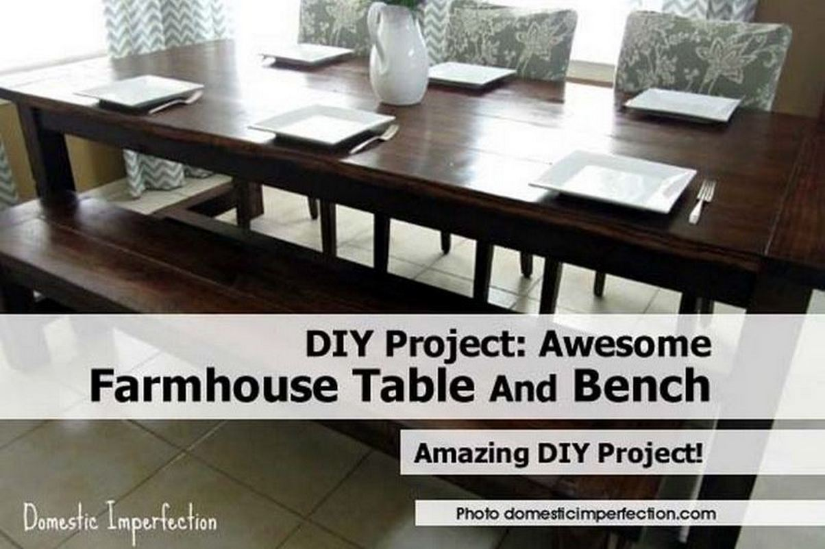 DIY Project Awesome Farmhouse Table And Bench