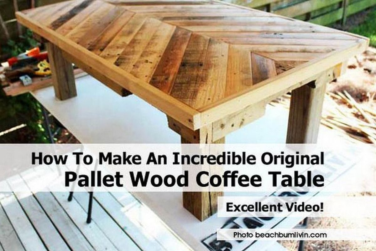 How to make an incredible original pallet wood coffee table for Coffee table made out of pallet wood