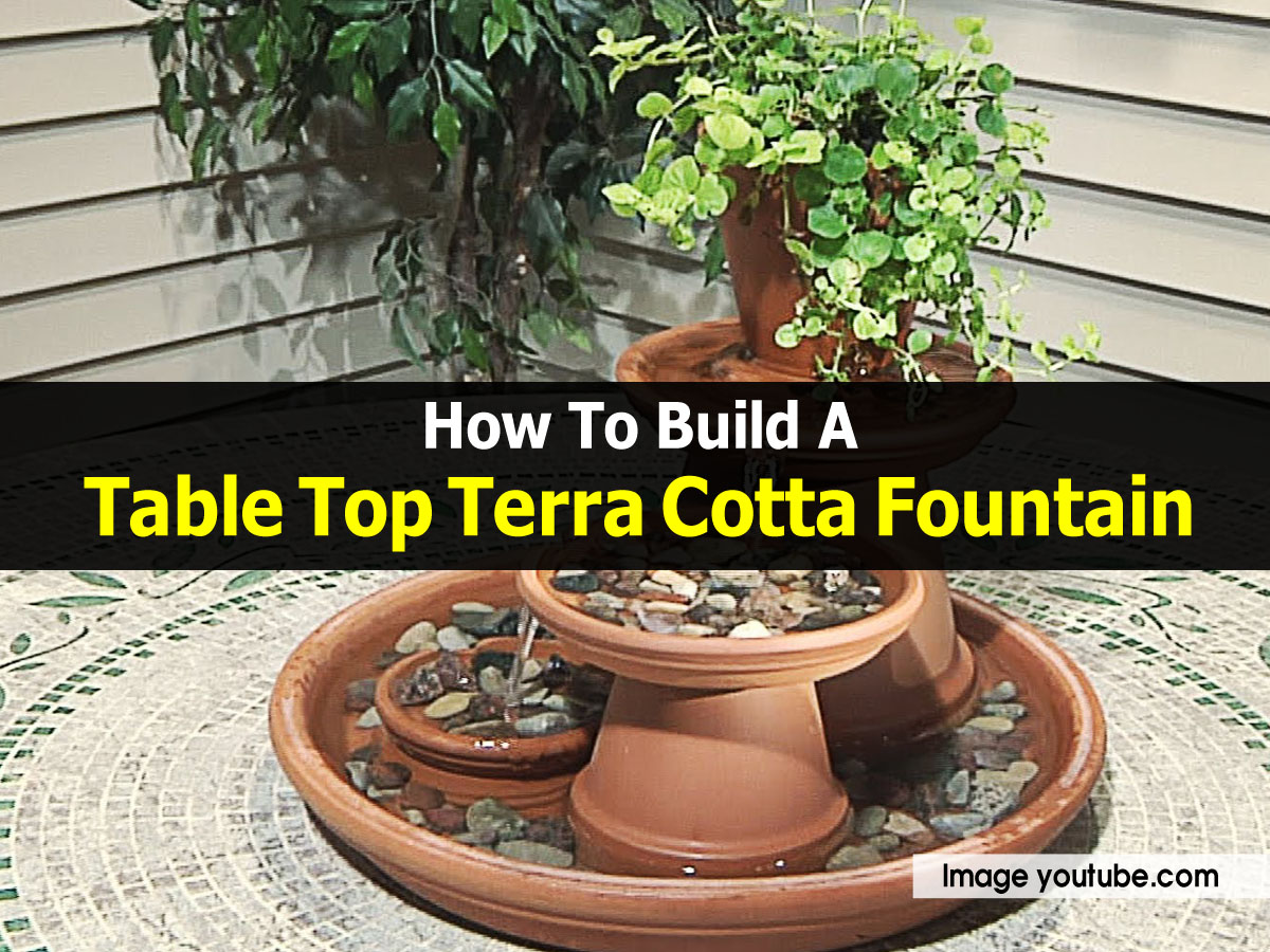 How to build a table top terra cotta fountain for Homemade tabletop water fountain