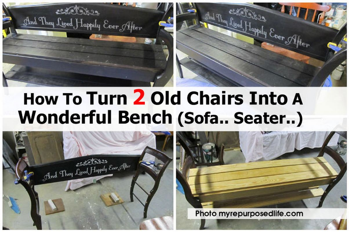 turn two chairs into bench1 myrepurposedlife com
