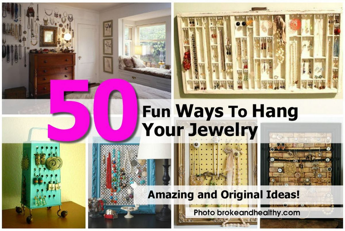 50 fun ways to hang your jewelry. Black Bedroom Furniture Sets. Home Design Ideas