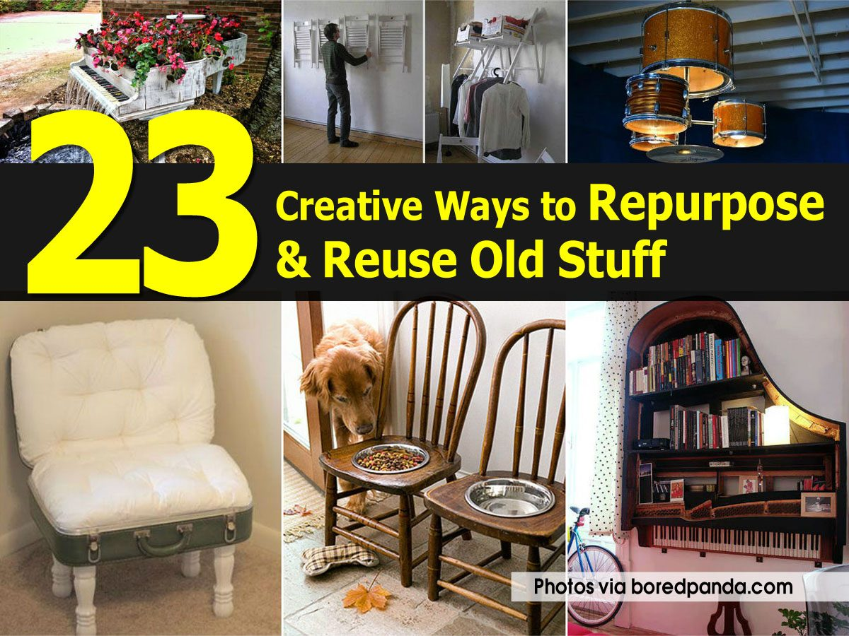 23 creative ways to repurpose reuse old stuff for Creative ways to recycle