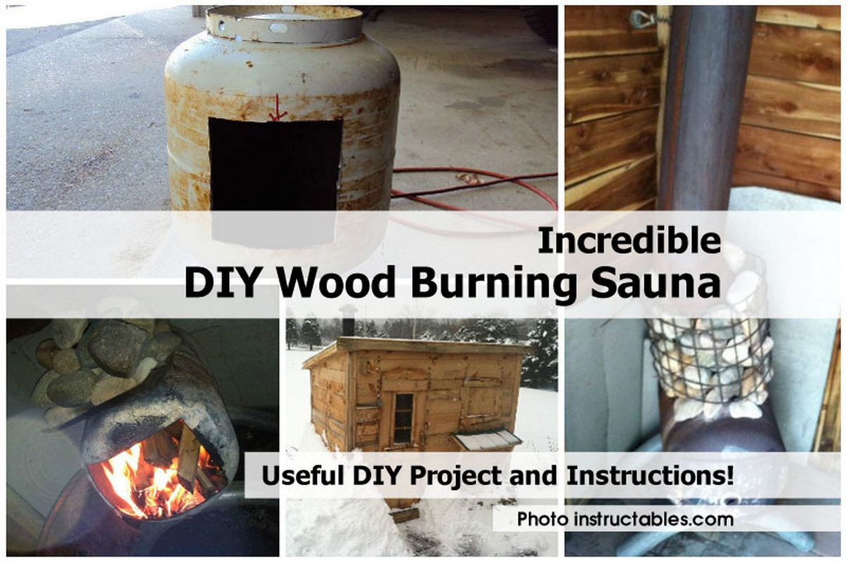 Homemade wood fired sauna stove free easy hand sewing for Build a wood burning sauna